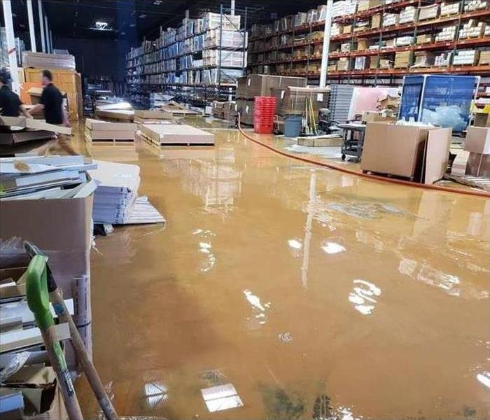 Flooded warehouse, black water damage in Lascassas, TN