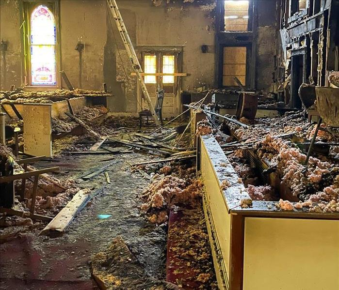 Aftermath of a church fire in Murfreesboro, TN