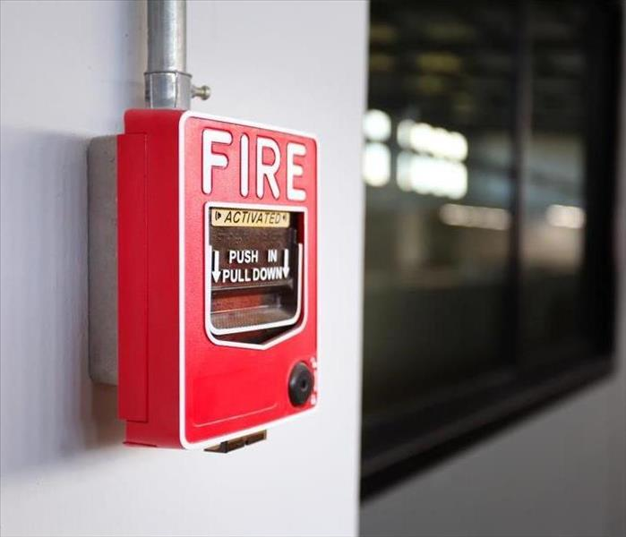 A fire alarm system on the wall